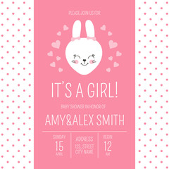 Cute baby shower girl invite card vector template. Cartoon animal It's a girl illustration. Pink design with little bunny and hearts. Kids newborn poster or birthday party invitation background.