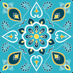 Mexican tile pattern vector with floral ornaments motifs. Portuguese azulejo, mexico talavera, spanish, italian majolica or moroccan ceramic texture for house bathroom wall or kitchen flooring.