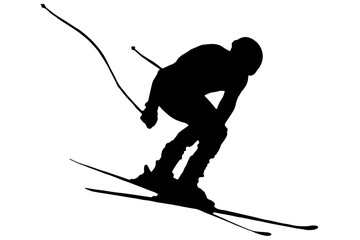 jumping skier - vector