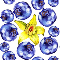 Blueberry seamless pattern. Watercolor