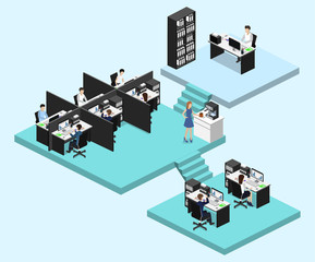 Isometric vector illustration flat 3d office interior departments concept vector.