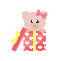 cartoon cute pig girl with lovely gift