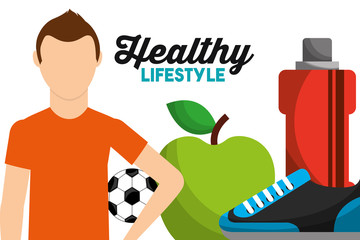 sport man with soccer ball apple bottle water sneaker healthy lifestyle vector illustration