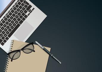bureau, fond, présentation, arrière plan, entreprise, vue du dessus, ordinateur, lunettes, bloc note