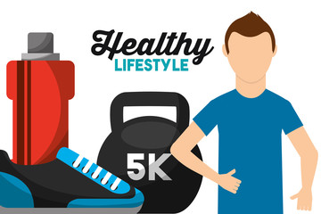 athletic man weight water and sneaker healthy lifestyle vector illustration