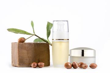 Argan products on white background