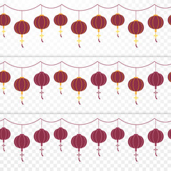 Set of traditional red Chinese paper lantern hanging on ropes. Seamless pattern. Spring Festival. Happy Lunar New Year concept. Flat design. Vector illustration