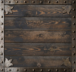 old metal frame over wooden paltes background 3d illustration