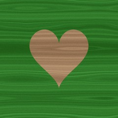Green striped wood wooden natural graphic surface with love heart symbol
