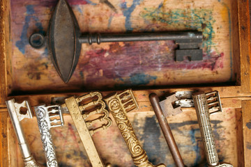 Old antique keys on a vintage background with a shabby paint