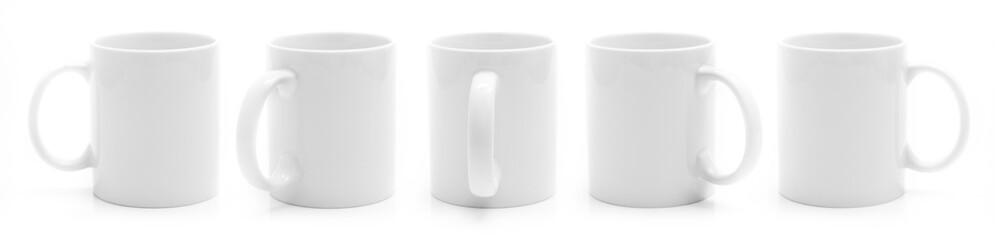 Set of different views of white cup isiolated on a white background
