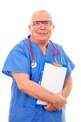Portrait of happy senior caucasian doctor in glasses 70-75 years old laughing and holding clipboard, isolated on white.