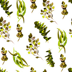 Eucalyptus Greenery Leaves Seamless Pattern.