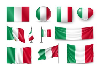 Set Italy flags, banners, banners, symbols, flat icon. Vector illustration of collection of national symbols on various objects and state signs
