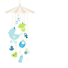 Mobile Baby Boy Symbols Hanging