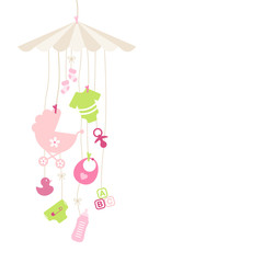 Mobile Baby Girl Symbols Hanging