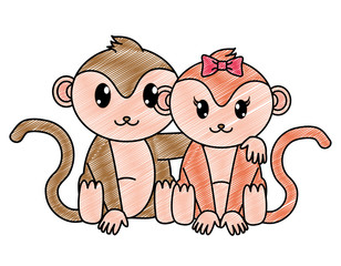 grated monkey couple cute animal together