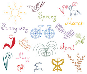 Icon set of spring city urban vector springtime illustration sketch