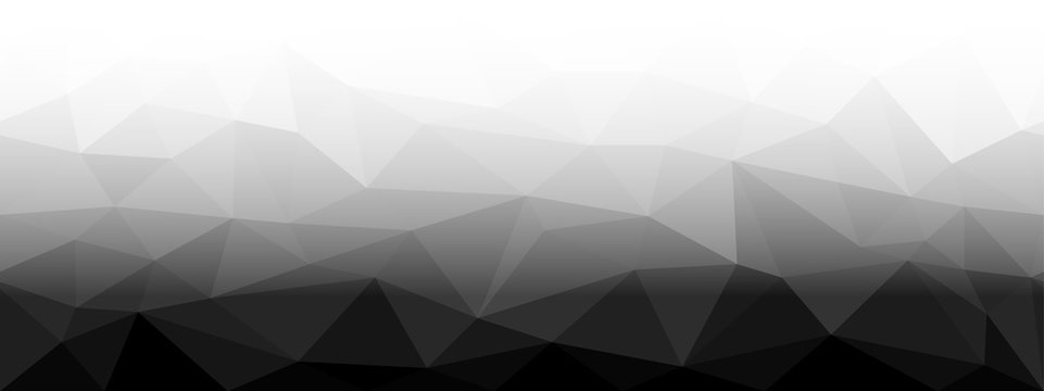 Low Poly black and white horizontal seamless background, gradient to the fade