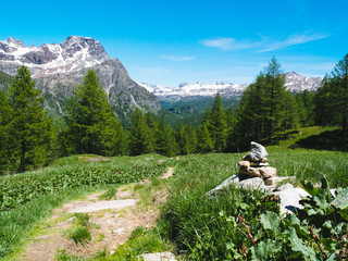 landscape view in the spectacular angles of the Devero Alp in a sunny day, Alpi Lepontine, summer mountain landscape