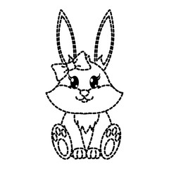 dotted shape female rabbit cute animal with ribbon bow