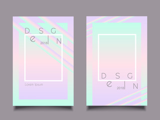 Trendy illustration poster holographic pink blue neon style
