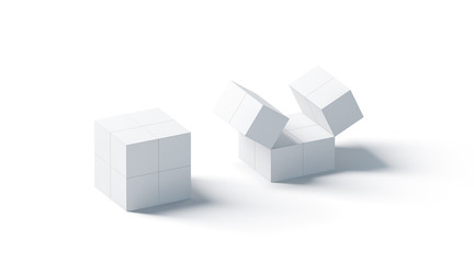 Blank white promotional magic cube mock up, isolated, 3d rendering. Foldable puzzle cuboid promotion toy mockup. China square corporate printing gift.