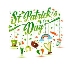 Fototapeta Lettering with icons of Saint Patrick s Day obraz