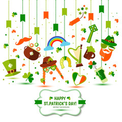 Set of icons of Saint Patrick s Day flat style