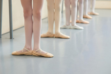 Young ballerinas legs in basic position. Group of little ballerinas standing in ballet position, cropped image. Classic ballet position.