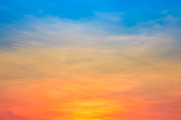 Fiery orange and blue sunset sky. Beautiful sky