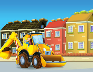 cartoon scene of a construction site with different heavy machines and working men
