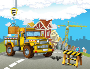 cartoon scene with funny construction site car - illustration for children