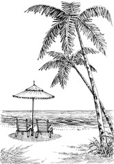 Sea view from the beach, sun umbrella and chairs, palm trees on shore