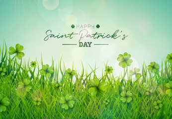 Saint Patricks Day Illustration with Green Clovers Field on Blue Sky Background. Irish Lucky Holiday Vector Design for Greeting Card, Party Invitation or Promo Banner.