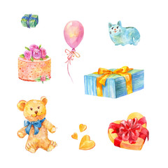 Set of birthday gifts. Teddy bear, cake, piggy bank and other presents. Watercolor illustrations