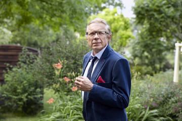 Worried man in the garden