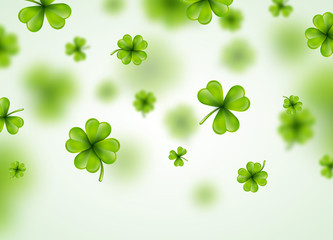 Saint Patricks Day Background Design with Green Falling Clovers Leaf. Irish Lucky Holiday Vector Illustration for Greeting Card, Party Invitation or Promo Banner.