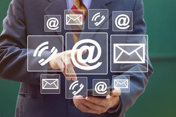Businessman hand press button mail service in network internet.