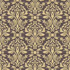 Seamless pattern with damask ornament. Vector vintage floral seamless pattern element. Damask wallpaper