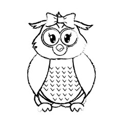 grunge female owl cute animal with ribbon bow