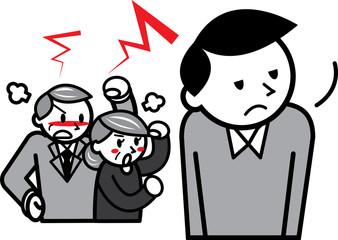 やる気のない息子と怒る両親