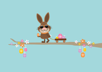 Bunny Sunglasses Handcart Easter Eggs Retro DIN