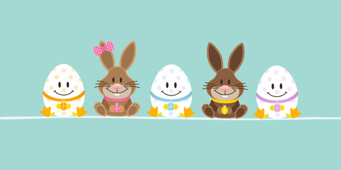 Easter Bunnies Boy/Girl & 3 Eggs Retro