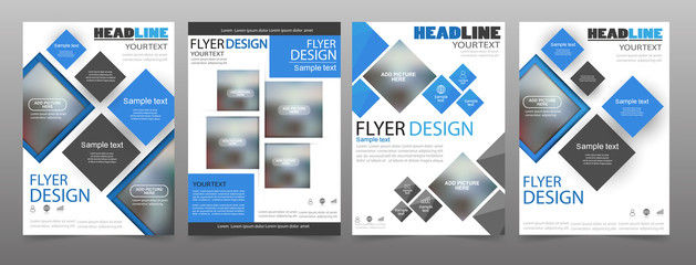 Set of 4 business brochure flyer design templates. Can be use for publishing, print and presentation. Vector. Eps 10