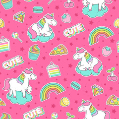 Cute unicorn ,dessert and fruit seamless pattern with pink background