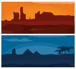 Desert at sunset and night