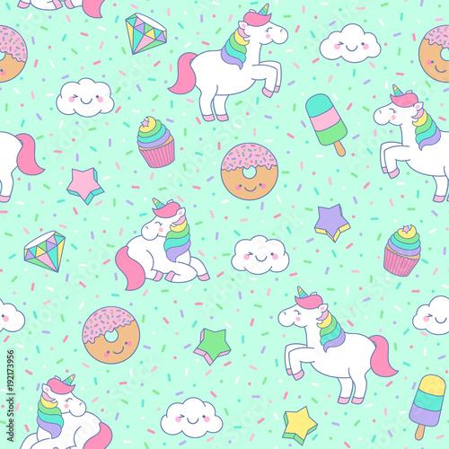 Cute Pastel Unicorn Dessert Star Cloud Seamless Pattern With