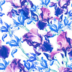 Seamless pattern of irises painted in watercolor.