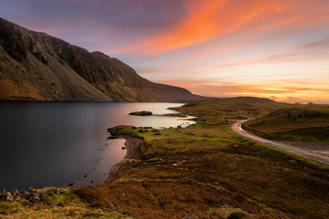 Beautiful orange sunset over Wastwater in the English Lake District.